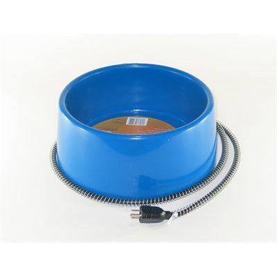 BOL CHAUFFANT - 5 litres en plastique - Ce bol de 5 litres est chauffé par un élément thermostatique de 50 watts qui empêche la formation de glace.  Une gaine protectrice empêche les animaux de mordiller le cordon d'alimentation. L'élément chauffant est contenu dans une boîte à l'épreuve de l'eau. Convient pour chiens, chats et autres animaux de petite à moyenne grosseur.