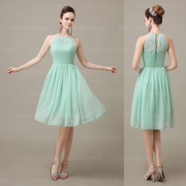 Mint Green Cute Chiffon Halter Bridesmaid Dress, Knee Length Short Cheap Pleated Bridesmaid Dresses, BD15392, $82.73   DHgate.com