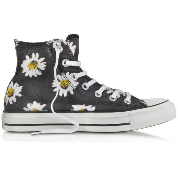 Converse Limited Edition Chuck Taylor All Star Black and Citrus Daisy... (€110) ❤ liked on Polyvore featuring shoes, sneakers, converse, sapatos, black canvas sneakers, canvas sneakers, canvas high tops, black canvas high tops and black shoes
