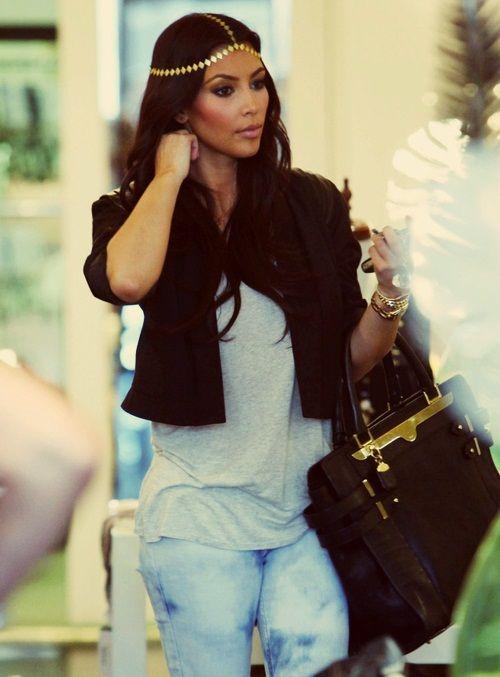 That headpiece! Indian style Kim kardashian head accessory gold stylish