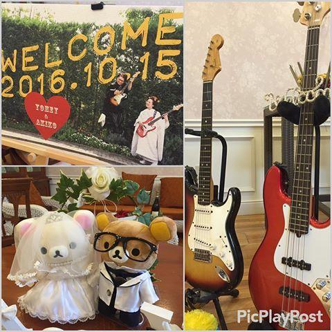本日もたくさんのお客様にお越し頂いて結婚式を行っております 受付はバンドをしていらっしゃる新郎様らしくギターとベースを飾り、ウェルカムボードもお2人の前撮り写真で素敵に飾り付けされました☺️✨また、リラックマの来ている衣装は新婦様の手作り #結婚式#受付#受付グッズ#ベース#ギター#バンド#ウェルカムボード#前撮り#リラックマ#ドレス#タキシード#飾り付け#ヴィラノッツェ#ヴィラノッツェコルティーレ出雲