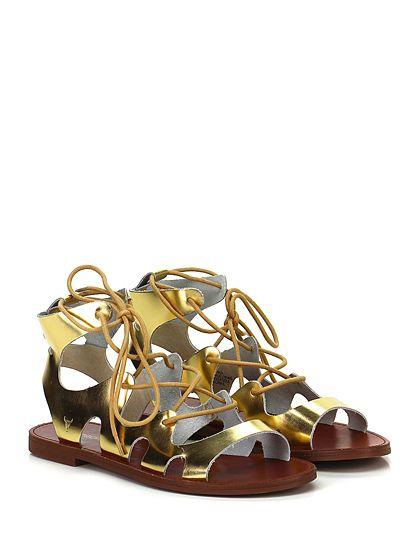 Windsor Smith - Sandalo basso - Donna - Sandalo basso in pelle specchiata con chiusura a laccio frontale e suola in gomma. - GOLD - € 110,00