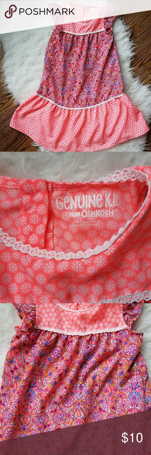 Genune Kids 3T girl's maxi dress, coral paisley Adorable coral paisley pattern genuine kids maxi dress. Worn a handful of times. Super cute and comfortable. Osh Kosh Dresses Casual