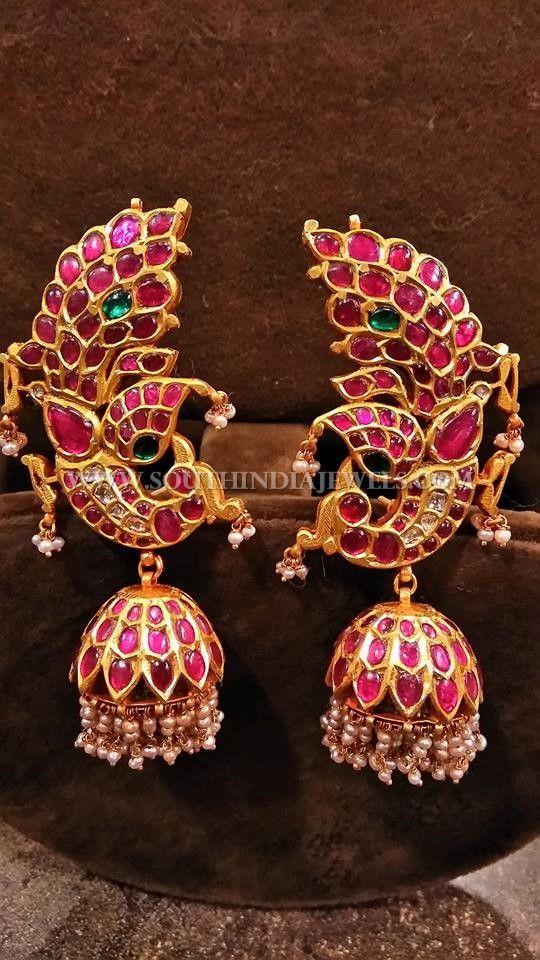 Gold Kemp Peacock Jhumka Designs, Gold Kemp Jhumka Designs for Bharatnatyam Dancers.