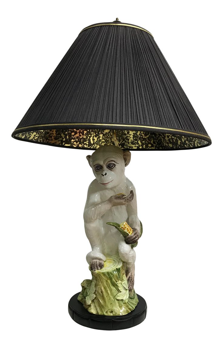Monkey Majolica Table Lamp with Black & Gold Shade on Chairish.com