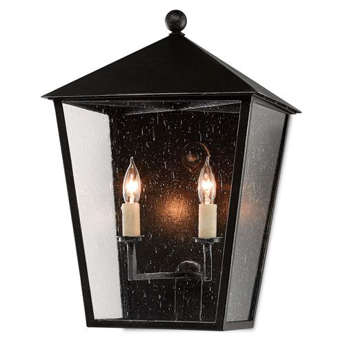 Bening Black with Silver Starlight Two-Light Outdoor Wall Sconce