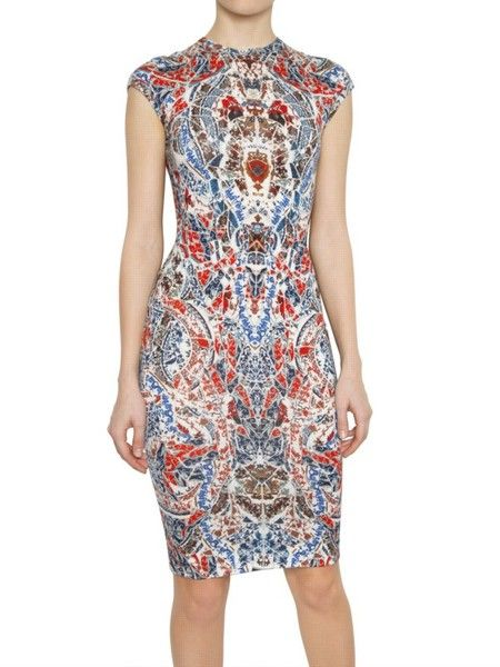 Print. engineered but covers the whole dress.  ALEXANDER MCQUEEN Multicolor Porcelain Print Jacquard Wool Knit Dress