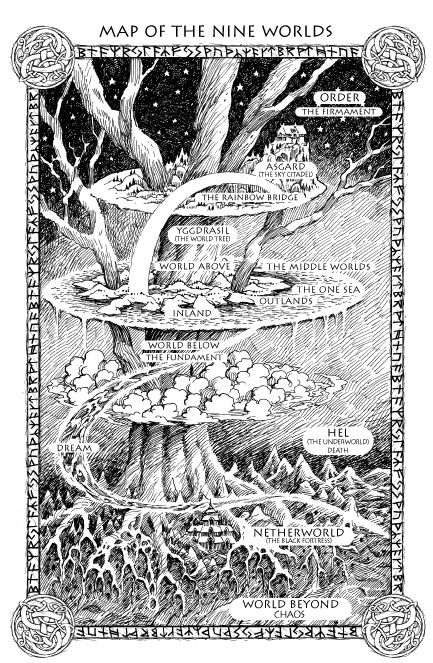 Old Norse Cosmology: Map of the Nine Worlds as depicted in  the fantasy series Runemarks by JoAnne Harris