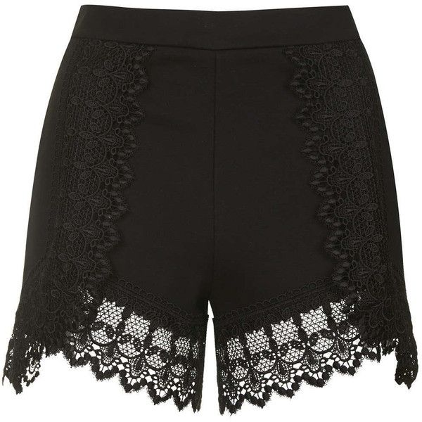 TOPSHOP High-Waisted Lace Trim Shorts (17 BHD) ❤ liked on Polyvore featuring shorts, black, highwaist shorts, high-waisted shorts, black highwaisted shorts, lace trim shorts and high waisted zipper shorts
