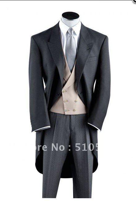 morning coat for grooms | Wholesale Free shipping black wool morning coat Wedding Groomsman ...