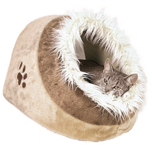 Cat Pet Dog Bed Kitty Kitten Luxury Cave Warm Soft Sleeper Lounger Beige Brand  #CatBed