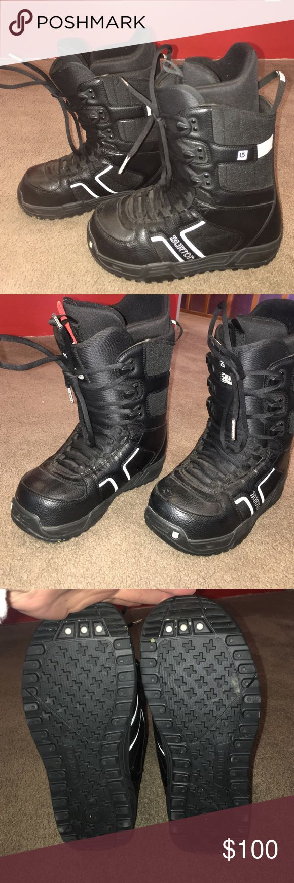 Women's size 10 Burton Snowboard Boots Women's size ten/ men's size 8 Like new Burton Snowboard Boots. Used only a couple times, look new. Burton Shoes Winter & Rain Boots