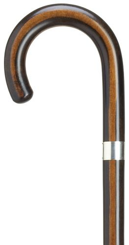 Ebony-finish Maple Wood Tourist Crook with SILVER BAND 37""