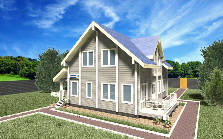 """Деревянный дом из клеёного бруса площадью 195,75 м2: цена строительства, фото, планы этажей, планировка. Построить дом по этом проекту """"под ключ""""!"""