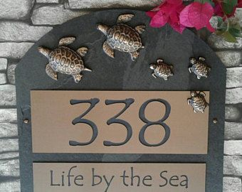 Sea Turtle Family Home Address Plaque House Numbers Sign