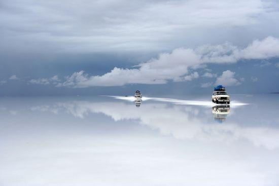 Bolivia salt desert after the rain