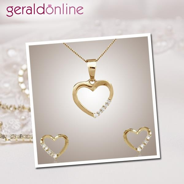 """""""Nothing is more precious than a grateful heart"""",!  This heart pendant and earrings set says it all, doesn't it? Just make it yours and feel more precious!"""