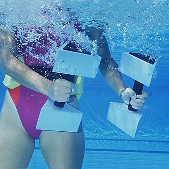 AquaJogger Medium Resistance Dumbbells help strengthen muscles without putting stress on your joints.