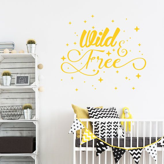 This wild and free typography wall sticker is the perfect complement to any nursery. There are 2 sizes and 30 colours to choose from to make sure