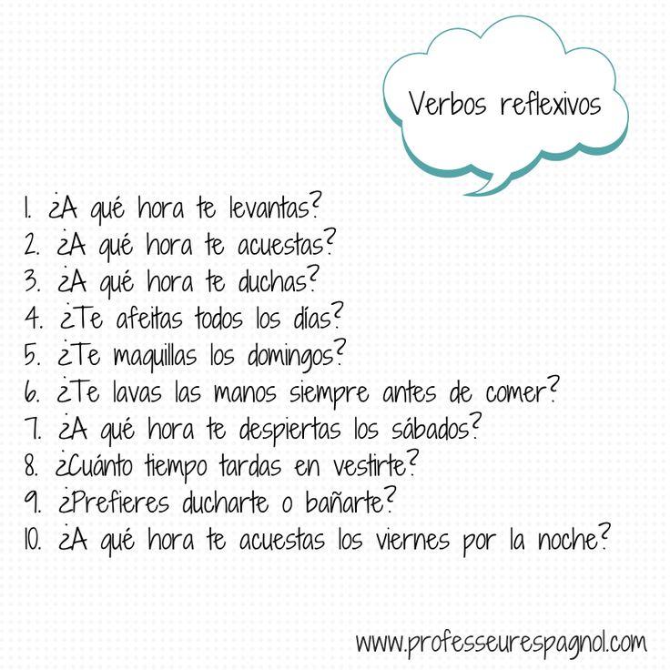 Actividad para trabajar los verbos reflexivos. A1  Quick q-a interview.