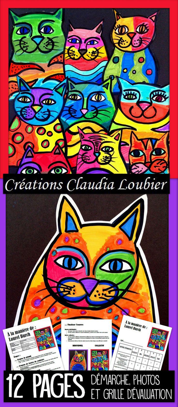 Voici un projet qui convient autant pour les 1er année que pour le 6e. Créer un chat, à la manière de Laurel Burch. Utiliser des couleurs fantaisite. Tout se fait aux feutres de couleurs. Le document vous montre comment en faire une oeuvre individuelle ou collective. Grille d'évaluation incluse.