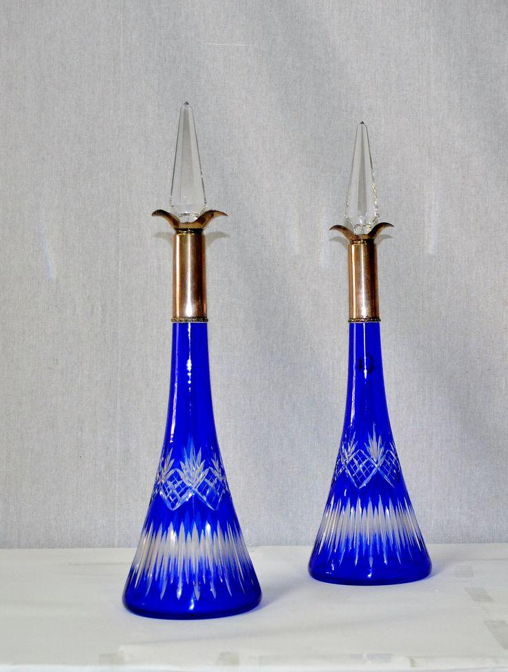 Rara coppia di decanters  in cristallo di Baccarat e Argento  con punzone stemma,giglio francese  epoca 1920