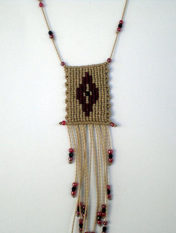 Macrame necklace Handwoven necklace Greek folk art by asmina