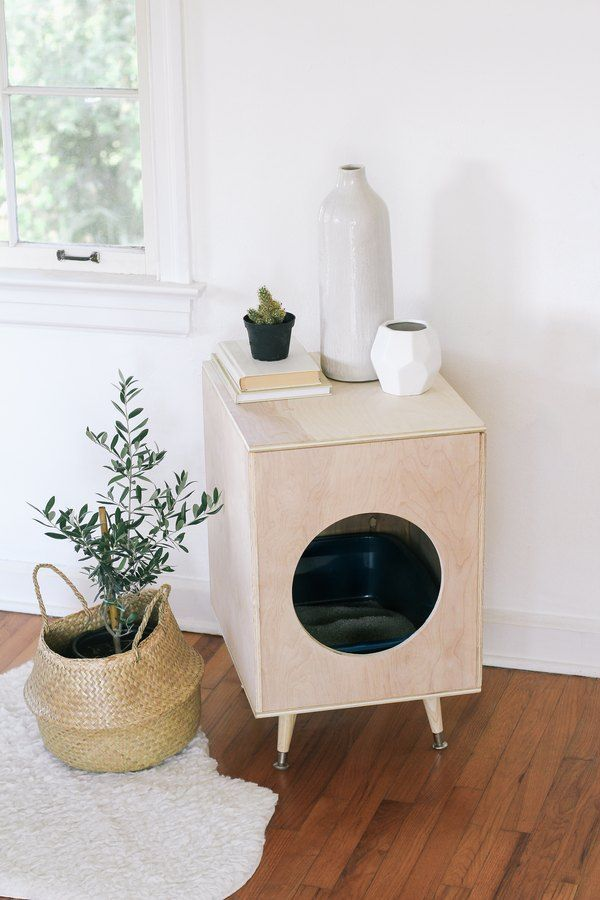 Diy Modern Plywood Kitty Litter Box Litter Box Covers Diy
