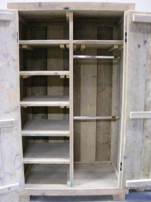 Kledingkast Steigerhout met 6 schappen en 2 hang gedeeltes (1260120300KM6)
