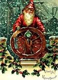 Vintage Christmas Card - Santa Claus Ship Captain