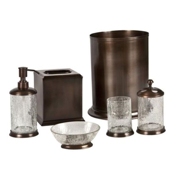 Orb crackle glass and oil rubbed bronze bath accessories for Black glass bathroom accessories