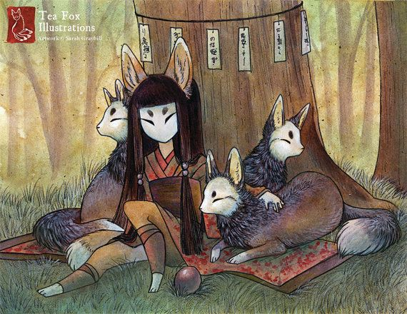 Okina and Kitsune / Fox Yokai Girl / Japanese Style / 8.5x11 Fine Art Matte Print