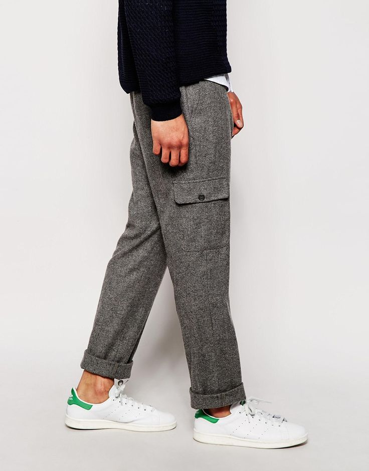 Image 4 of ASOS Slim Fit Trousers In Tweed With Cargo Pockets