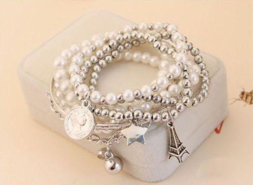 Eiffel Tower Pearl Bracelet FREE Shipping Today! 9/22/15 http://www.sassnfrass.net/eiffel-tower-pearl-bracelet/