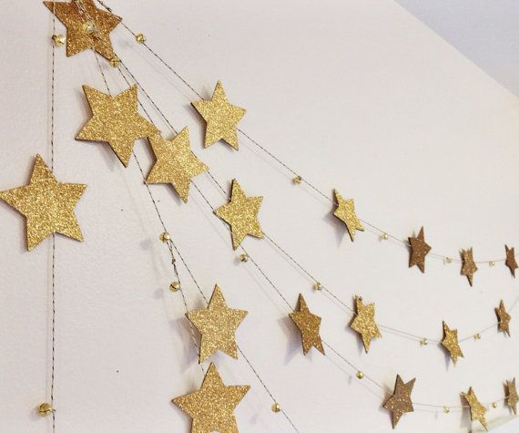Gold Star Garland with mini bells by Ninety9RedBalloons on Etsy