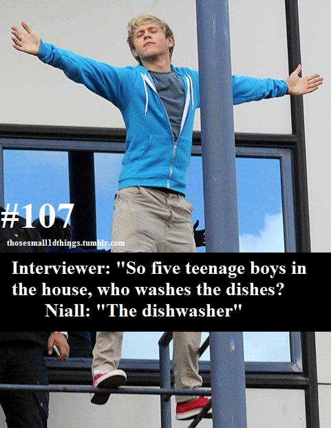 """107 - Interviewer: """"So five teenage boys in the house, who washes the dishes?"""" Niall: """"The dishwasher"""""""