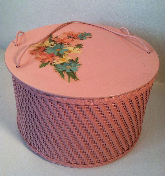 vintage pink Wicker sewing