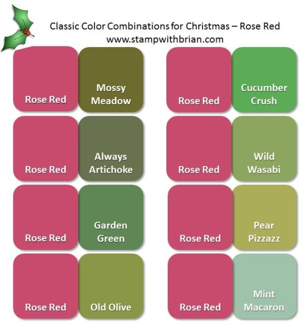 Stampin Up Color Inspiration Classic Christmas Pairings With Rose Red