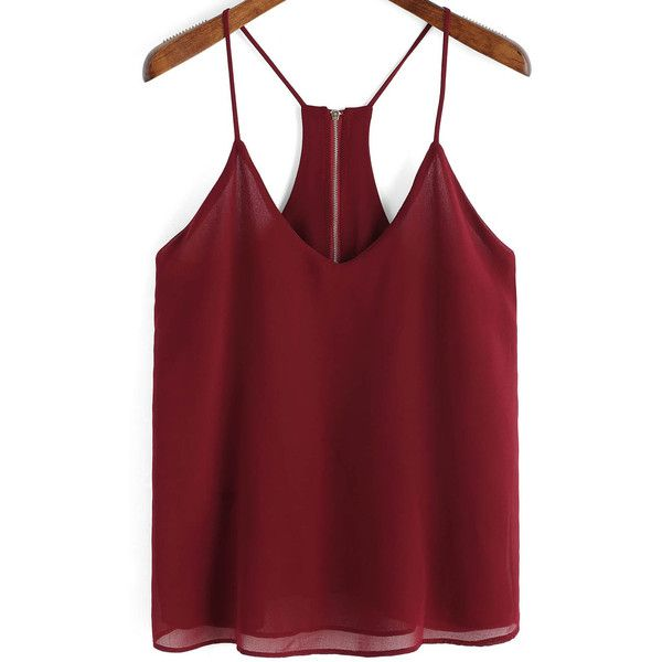 SheIn(sheinside) Burgundy Spaghetti Strap Zipper Chiffon Cami Top ($9.99) ❤ liked on Polyvore featuring tops, shirts, tanks, remeras, red, spaghetti strap tank top, red tank top, red chiffon shirt, cami tank and red shirt