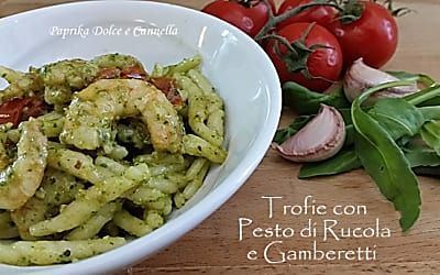 Trofie con Pesto di Rucola e Gamberetti