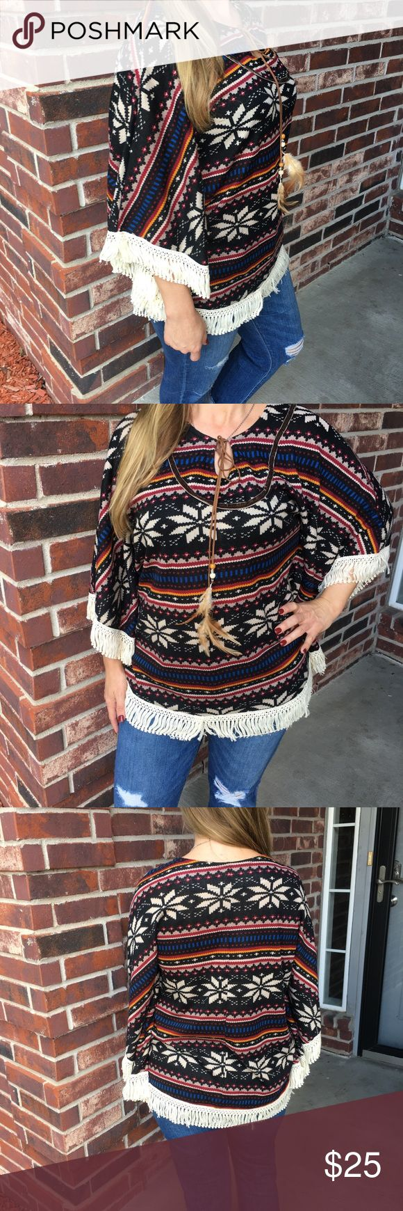 TW7S Southwest poncho fringe shirt Southwest multicolor poncho style fringe shirt. Leather look neckline tie with bead and feather ends. Some fringe is out of place. TW7S Tops