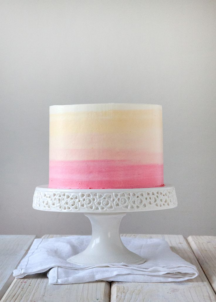 OmbreCake5  After receiving such much awesome feedback from my Watermelon Cake, I was  so jazzed to come up with another tutorial post for you all, specifically:   How to Ice a Cake: Version 2.0 (The Perfect Ombre).  Let's be honest, I am not totally up on my party trends these days.  I no  longer make wedding cakes on a weekly basis and it has been nearly 4  years(!!!) since I planned my own.  Is ombre still a thing?  I made my  first ombre cake years ago, but are people still into it…