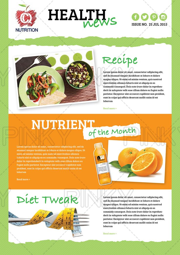 29 best newsletters images on pinterest free stencils for Health and wellness newsletter template