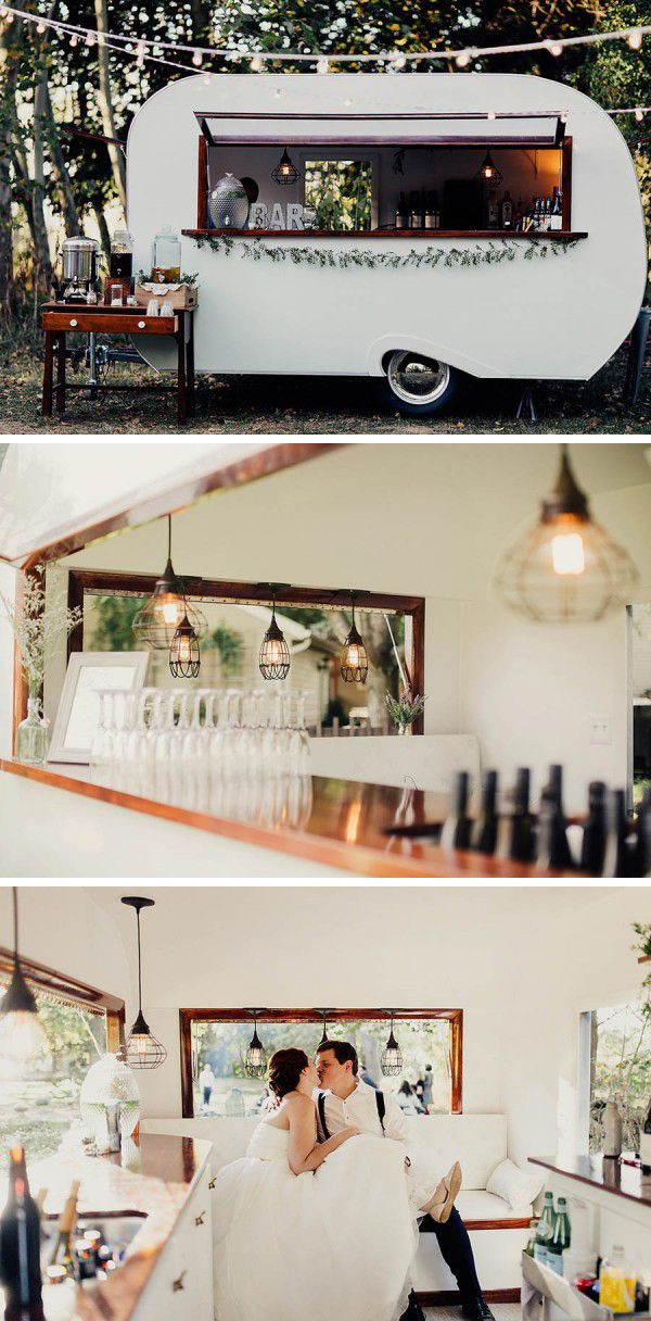 We absolutely adore the mobile campers and trailers we've been spotting at wedding receptions lately, and this sleek 1969 Vintage Scotty Camper is one of our favorites! Sweet Water Caravan - a mobile bar service based out of Ohio - brings instant vintage glam and sophistication to any outdoor wedding reception. Check it out here: http://www.sweetwatercaravan.com/home.html