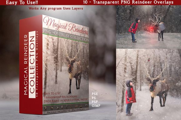 10 - PNG -Reindeer Overlays by DareToDream on @creativemarket