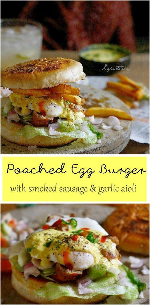 poached egg burger