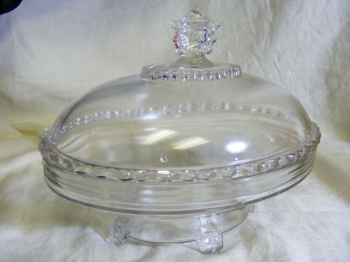 Antique EAPG 1800's Hobb's Viking Covered Dish Compote Candy