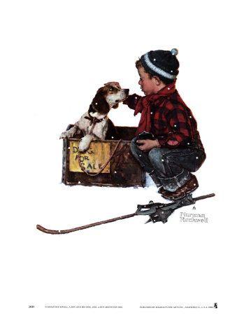 kunst van Norman Rockwell.  Jongen ontmoet voor de 1e keer zijn hondje.