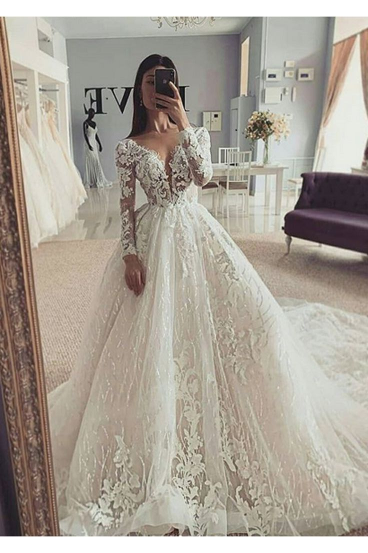 Ball Gown Illusion Long Sleeve Wedding Dress with Appliques V-neckline – Kleider