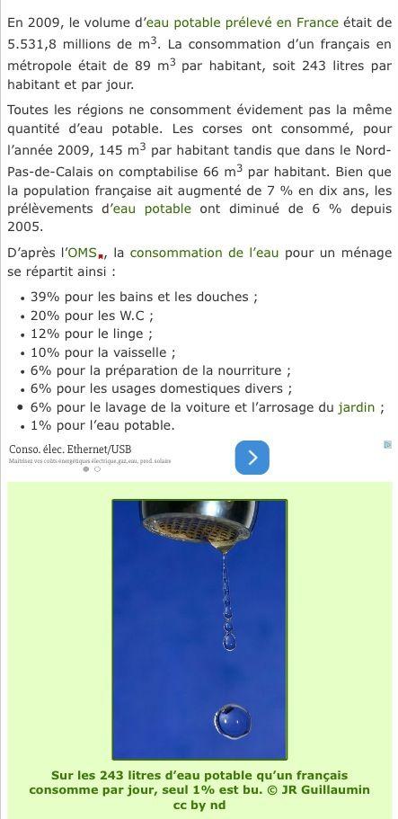 Consommation d'eau par habitant en France (Source Futura-Sciences)